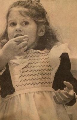 1973, author eating cake