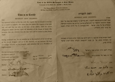 This certificate showed that my mother had converted to Judaism.