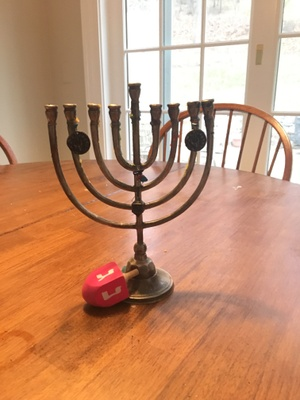Menorah and Dreidel