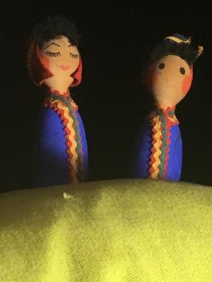 Two bowling-pin shaped Laplandish dolls