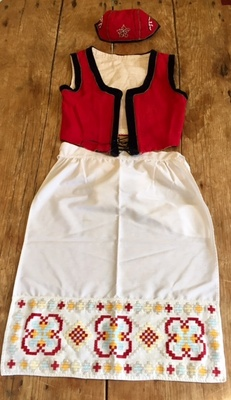 Norwegian vest, cap & apron w/ hardanger