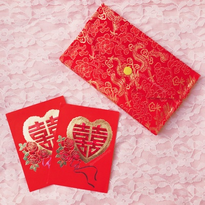"""Double Happiness"" Red Envelopes and Box for a Gold Necklace"