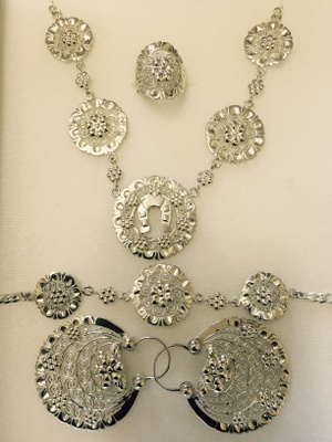 Silver ring, Necklace, Bracelet, and earrings