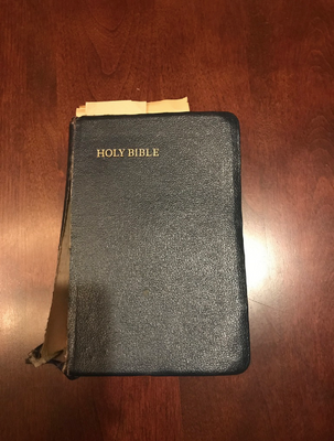 A picture of the front of the Bible.