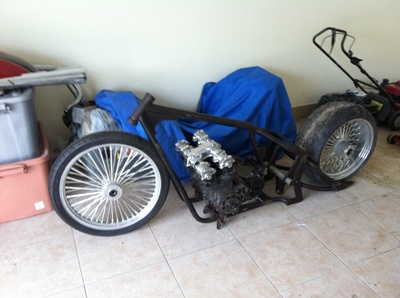 An unfinished motorcycle