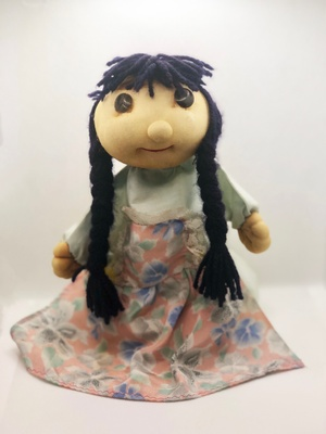 Hand made Puppet, Hair is Black, braided