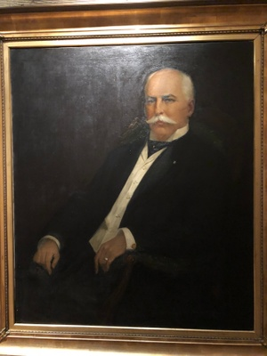 In this picture frame, there is a painting of my step-ancestor named Thomas. He sailed from Liverpool to Philadelphia and New Orleans. He traveled with his family and had many stories about it.