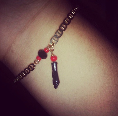 Azabache bracelet worn when I was young