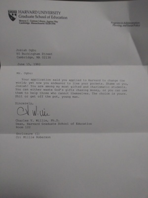 Career Defining Letter from Dr. Willie