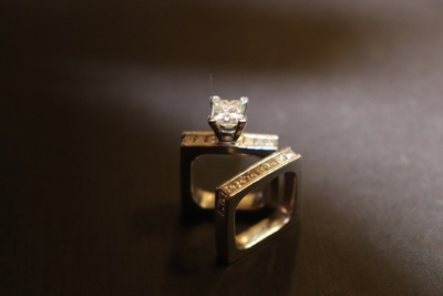 Platinum ring w/ princess cut diamonds
