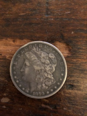 An American dollar coin from 1879