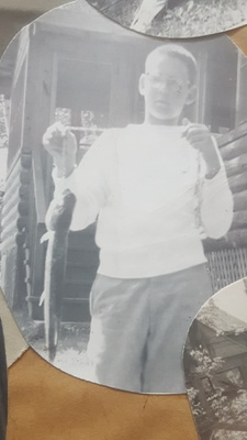 Howie with fish, ca. 1960.