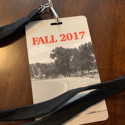 "A lanyard pass that reads ""Fall 2017"""