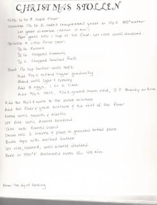 Handwritten Recipe for Christmas Bread