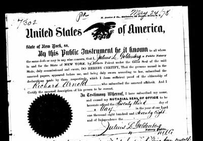 Arnold's passport application, 1878