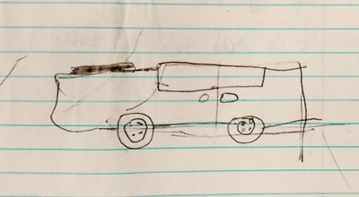 Drawing of a toy car