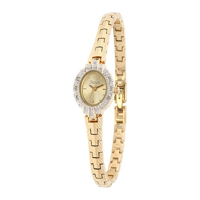 A bracelet made of gold with a clock