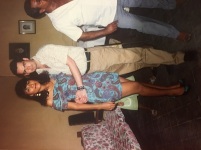 Pictured: My parents (Alma:left, Victor:right), at a celebration of their first wedding in Mexico, surrounded by friends and family. This was a few weeks before their move to New York.
