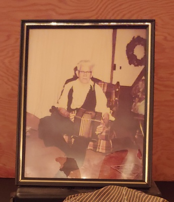 This is a picture of Thomas Manley playing accordion at my mom's uncles wedding