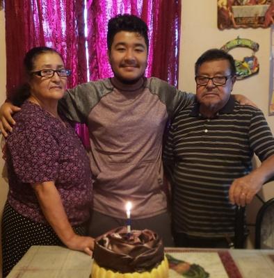My Grandparents and I on my birthday.