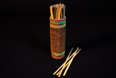 Chinese fortune sticks, ca. 1850s. Courtesy of Temple of Kwan Tai.