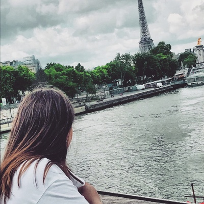 The image of me looking at the tower.