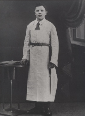 Ferdinand Schaller as a butcher's apprentice in Strasbourg, France circa 1916