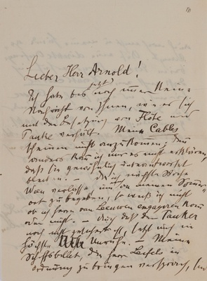 Letter from Gustav Mahler to Arnold, Summer 1909