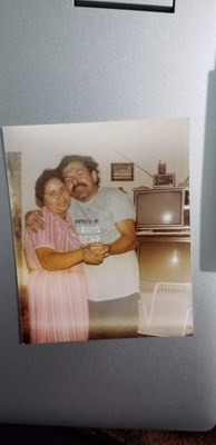 My grandpa hugging my grandma