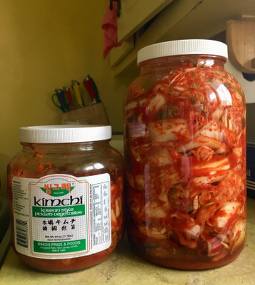 Kimchi is a traditional Korean food made of cabbage and spicy pepper paste, fermented over a long period of time.