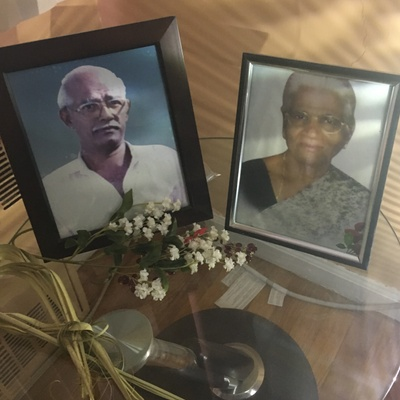 Framed portraits of my father's parents
