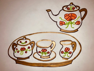 I was unable to get a photograph of the tea set, so I attempted to draw it from memory.