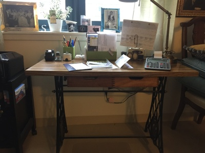 Celia's sewing machine, now a desk