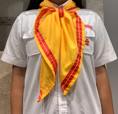 The scarf is usually paired with the uniform shirt given to each member of the organization.