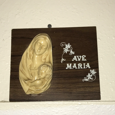 Wooden plaque w/ religious figures