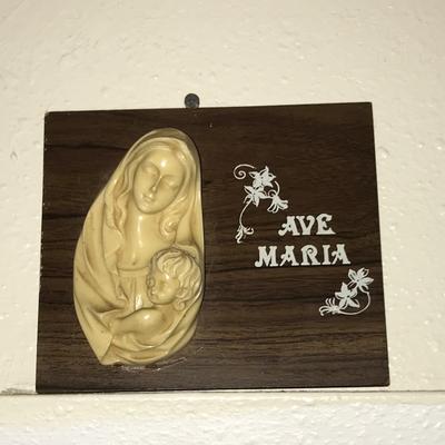 Wooden plaque w/ religious figures