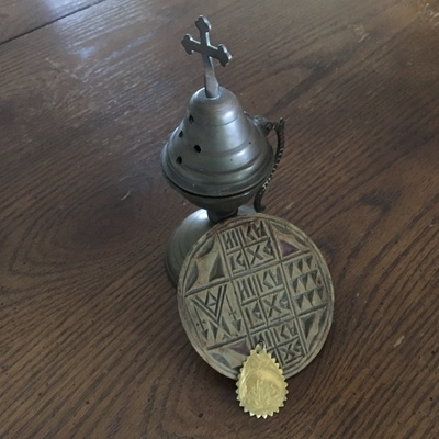 communion bread seal, incense burner, medal