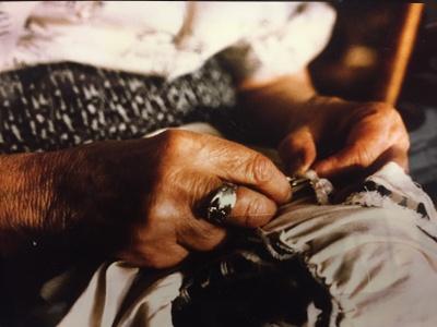 Hazel Johnson hand sewing c.1989