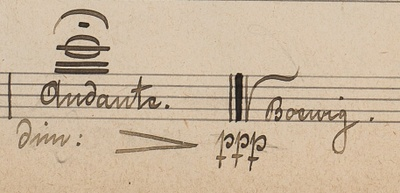 Boewig's signature at the end of a Philharmonic manuscript