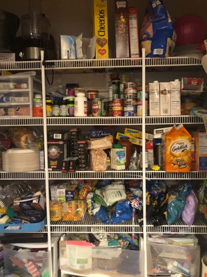 This is a pantry full of different foods