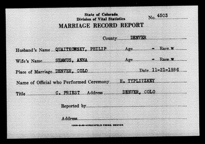 Chana and Philip's Marriage Record
