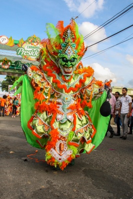 Colorful devil costumes worn at carnival