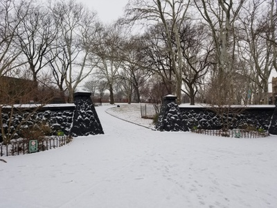 Snowfall and accumulation at a local park. (Sunset Park)