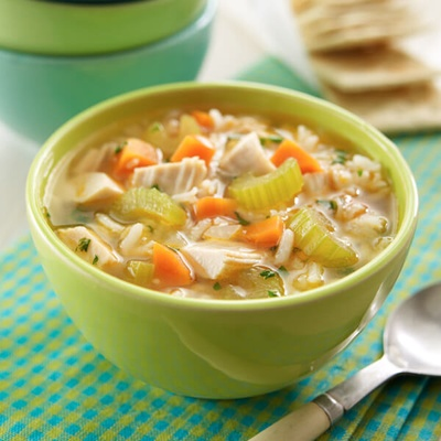 A photo of chicken and rice soup from landolakes.com, as my mom has not had time to make the soup.