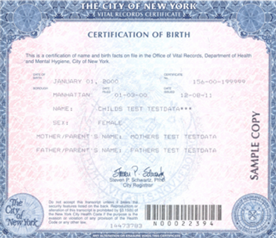 (Example Birth Certificate)