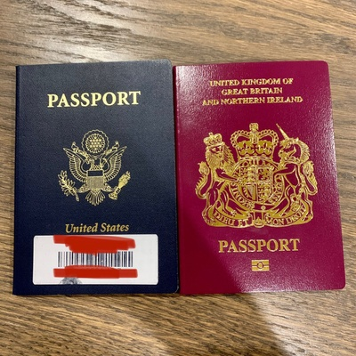 Picture of my American and U.K passport