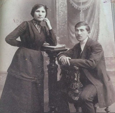 My great-grandmother Rebecca in Russia with an unidentified man, date unknown.