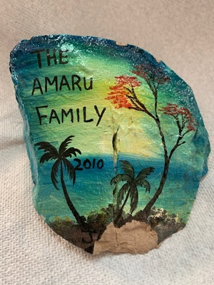 painted rock from family vacation