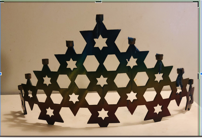 Menorah of stacked Star of Davids