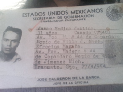 My grandfathers' bracero identification